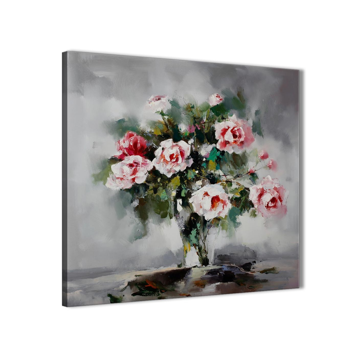 Pink Grey Flowers Painting Kitchen Canvas Wall Art Accessories In Kitchen Canvas Wall Art (View 16 of 20)