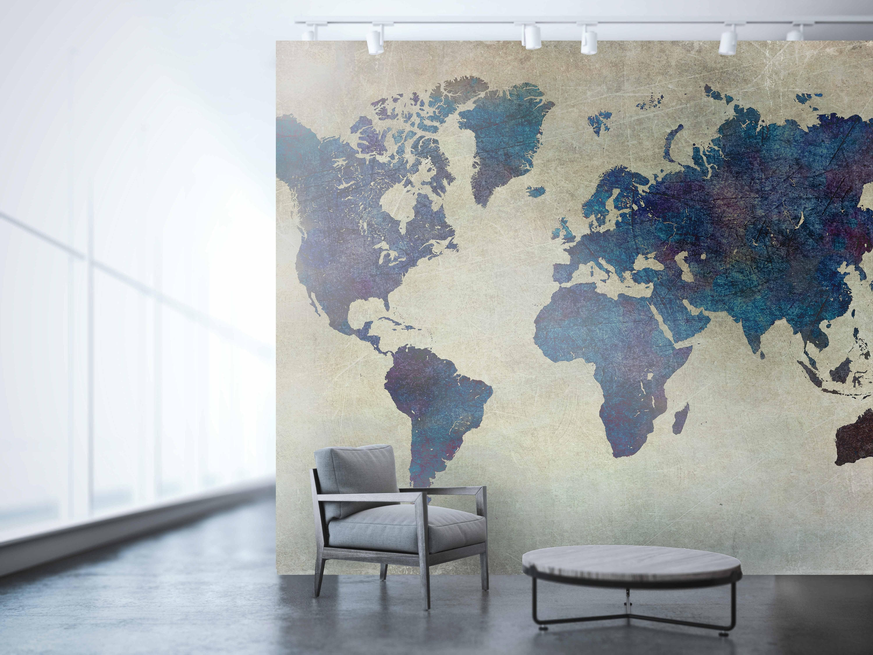 Planisphere Wallpaper, Large World Map, World Map Wall Art, Map Of intended for Vintage Map Wall Art (Image 11 of 20)