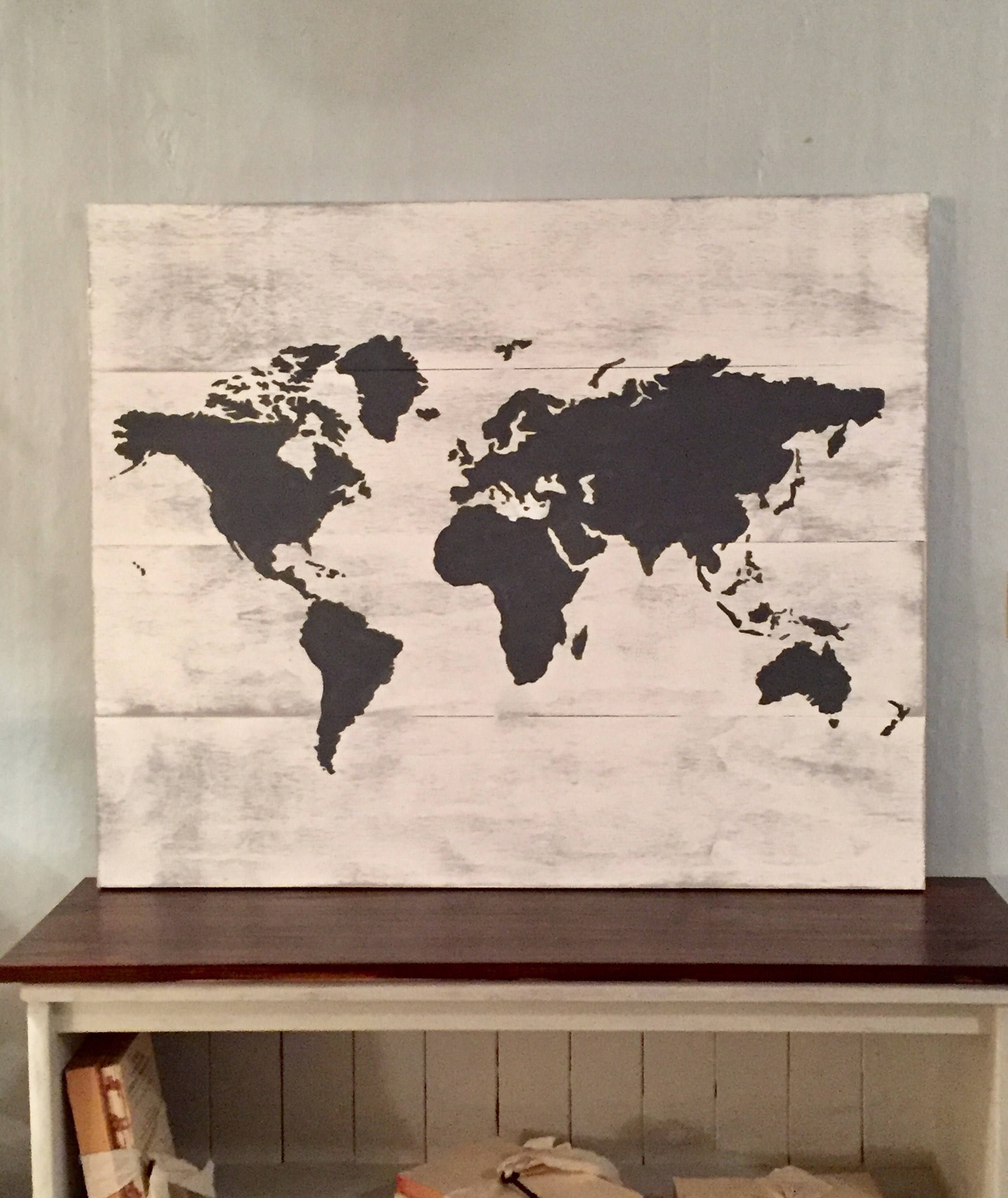 Planked World Map, Wooden World Map, World Map, Farmhouse Style With Regard To Map Of The World Wall Art (Photo 16 of 20)
