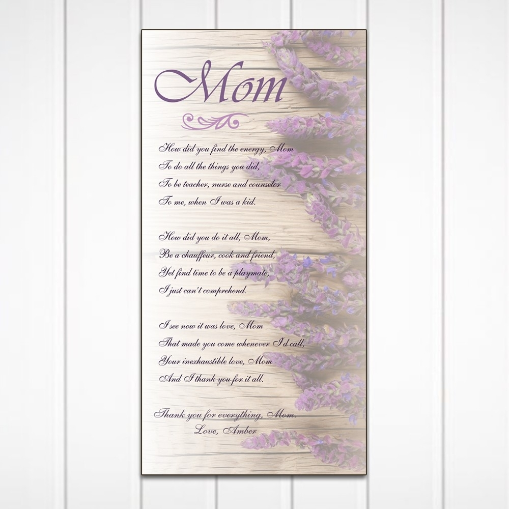 Poem For Mom Personalized Wall Art Panel In Personalized Wall Art (View 12 of 20)