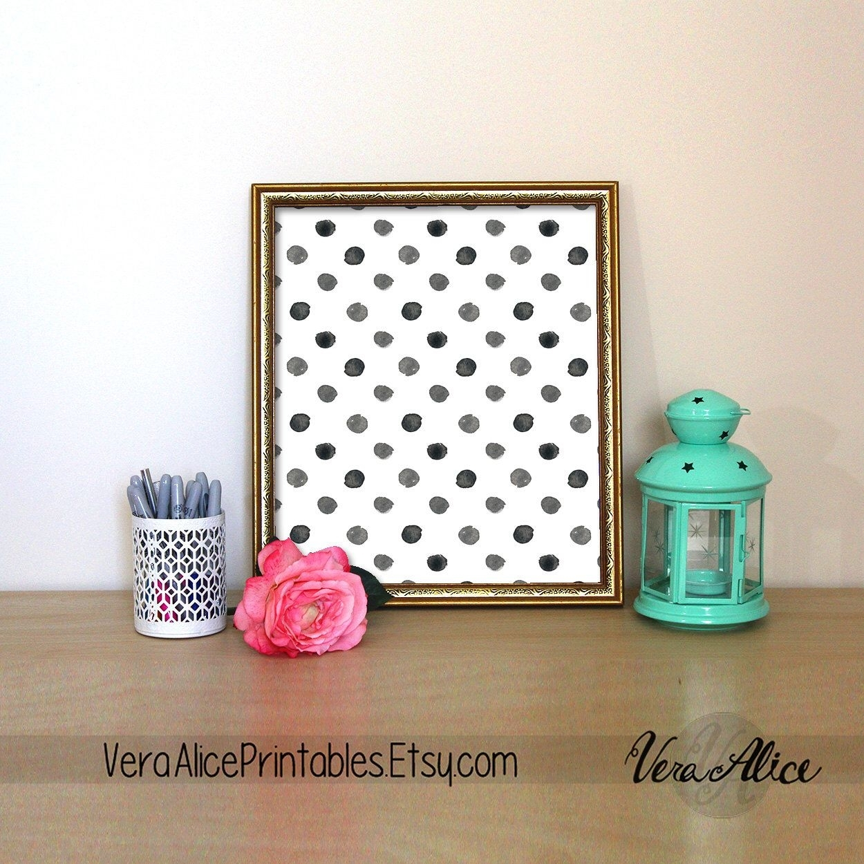 Polka Dot Print Kate Spade Quote Black And White Polka Dot Wall Art With Kate Spade Wall Art (Photo 13 of 20)