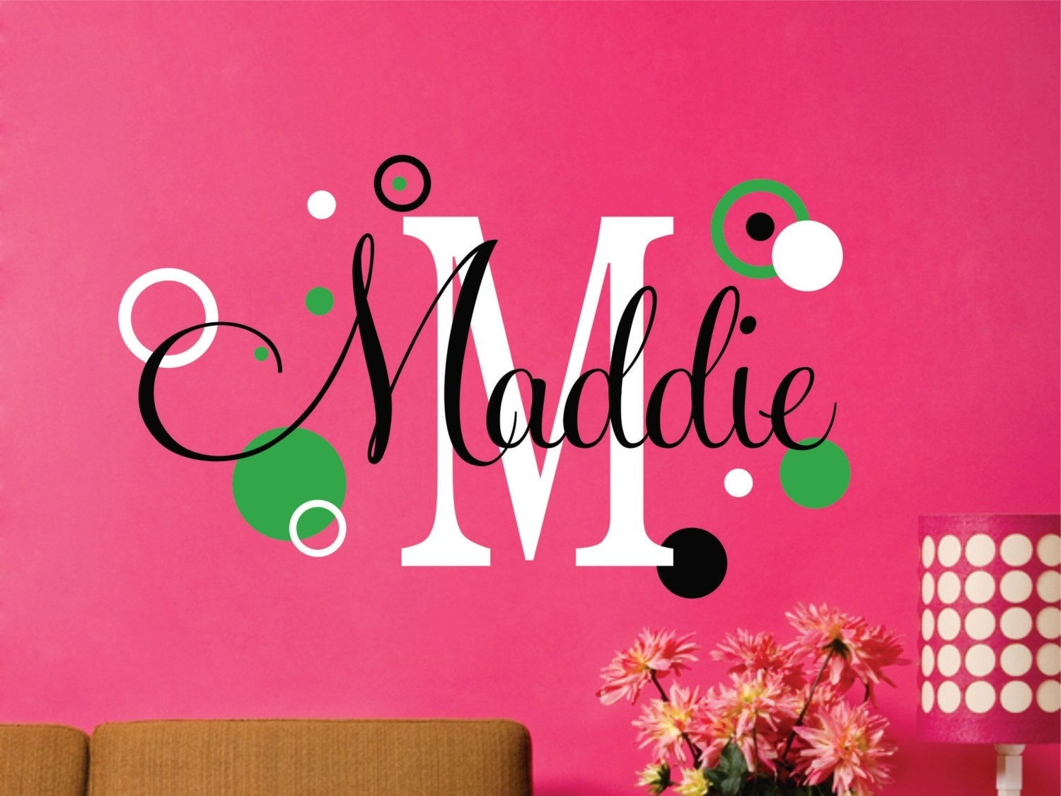 Polka Dot, Vinyl Monogram Decal, Name Decal, Wall Decals, Vinyl With Name Wall Art (Photo 16 of 20)