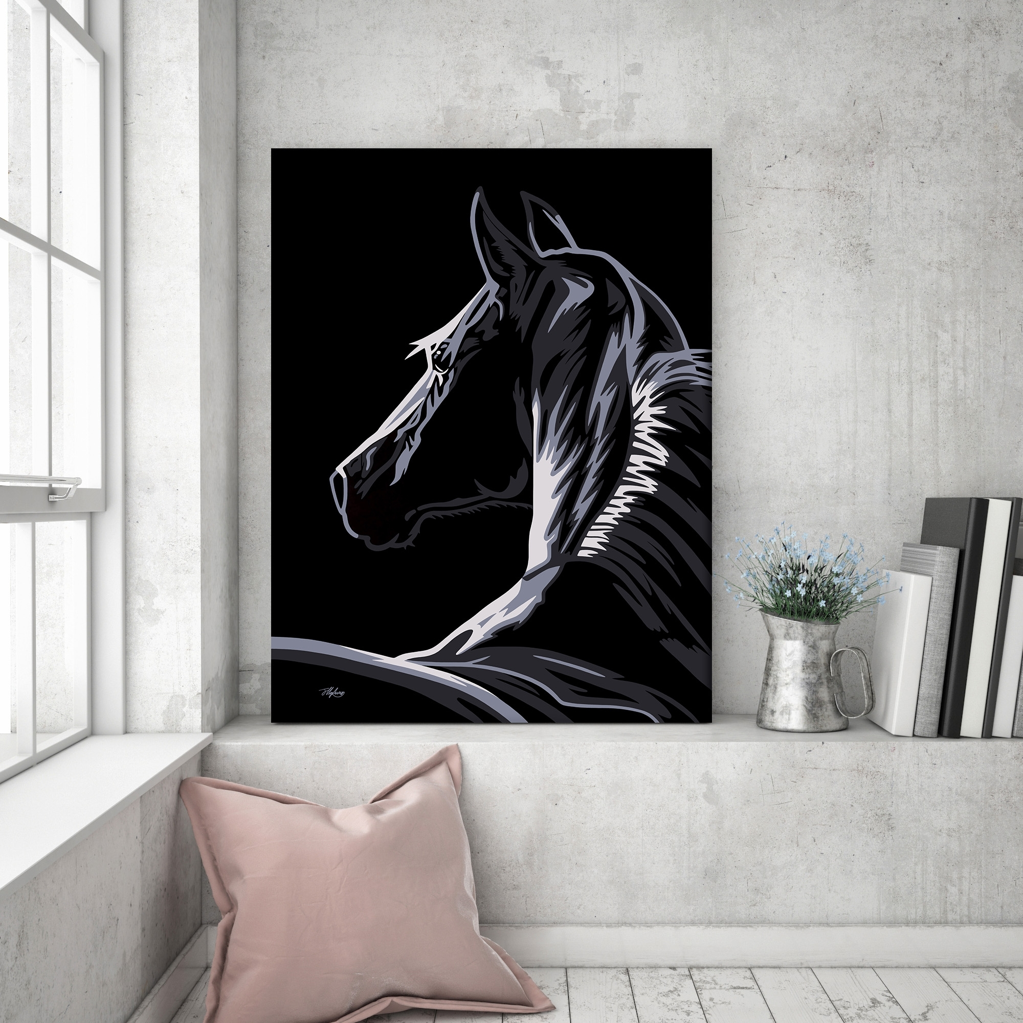 Pop Art Horse Canvas | Fortune & Hopkins | Homeware And Ceramics throughout Black Wall Art (Image 14 of 20)