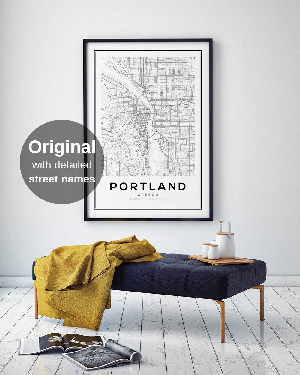 Portland City Map Print, Oregon Map Print, Us Map Print, Map Wall With Portland Map Wall Art (View 10 of 20)