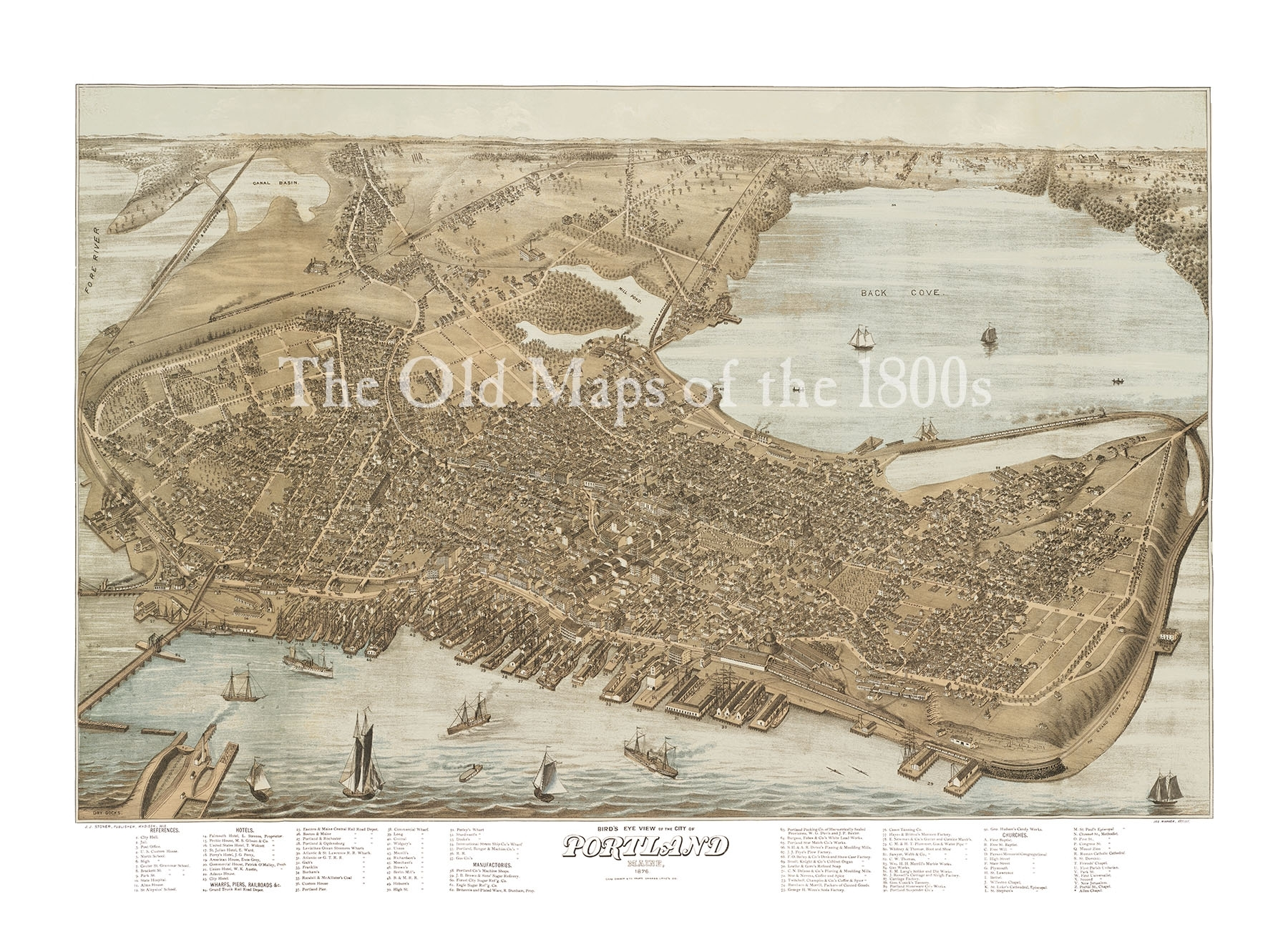 Portland, Maine In 1876 – Bird's Eye View Map, Aerial, Panorama Inside Portland Map Wall Art (View 15 of 20)