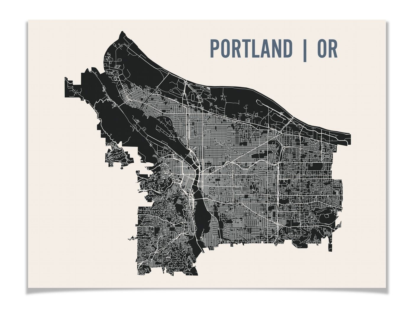 Portland Map Art Print | Portland Print | Portland Art Print Within Portland Map Wall Art (View 7 of 20)