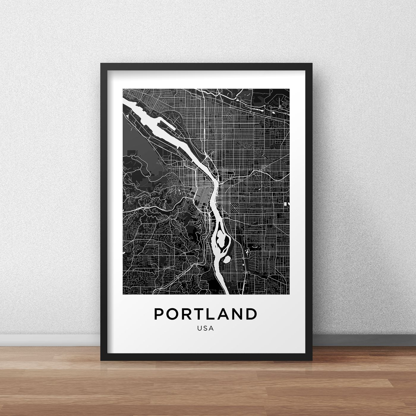 Portland Map Print, Portland Map Download, City Map Portland With Regard To Portland Map Wall Art (View 5 of 20)