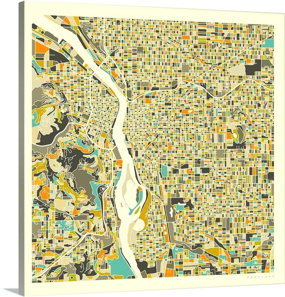 Portland Map Wall Art City Map Poster Printable Print Street Map With Regard To Portland Map Wall Art (View 9 of 20)