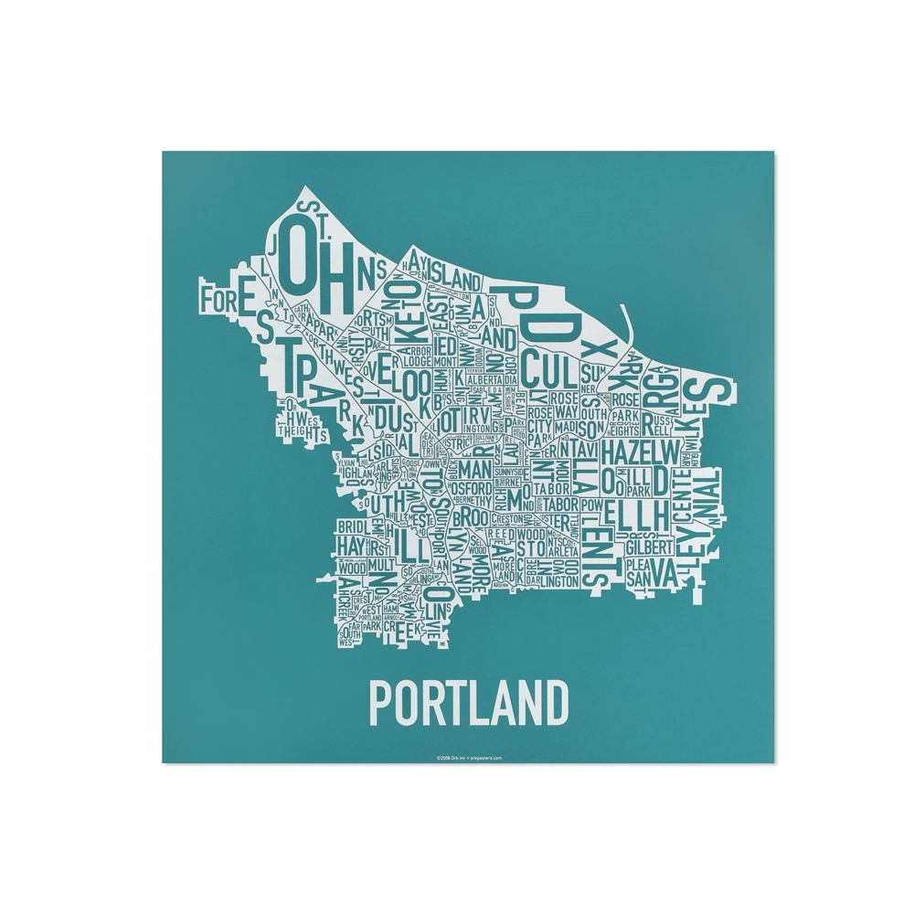 "Portland Neighborhood Map 12.5"" X (View 14 of 20)"