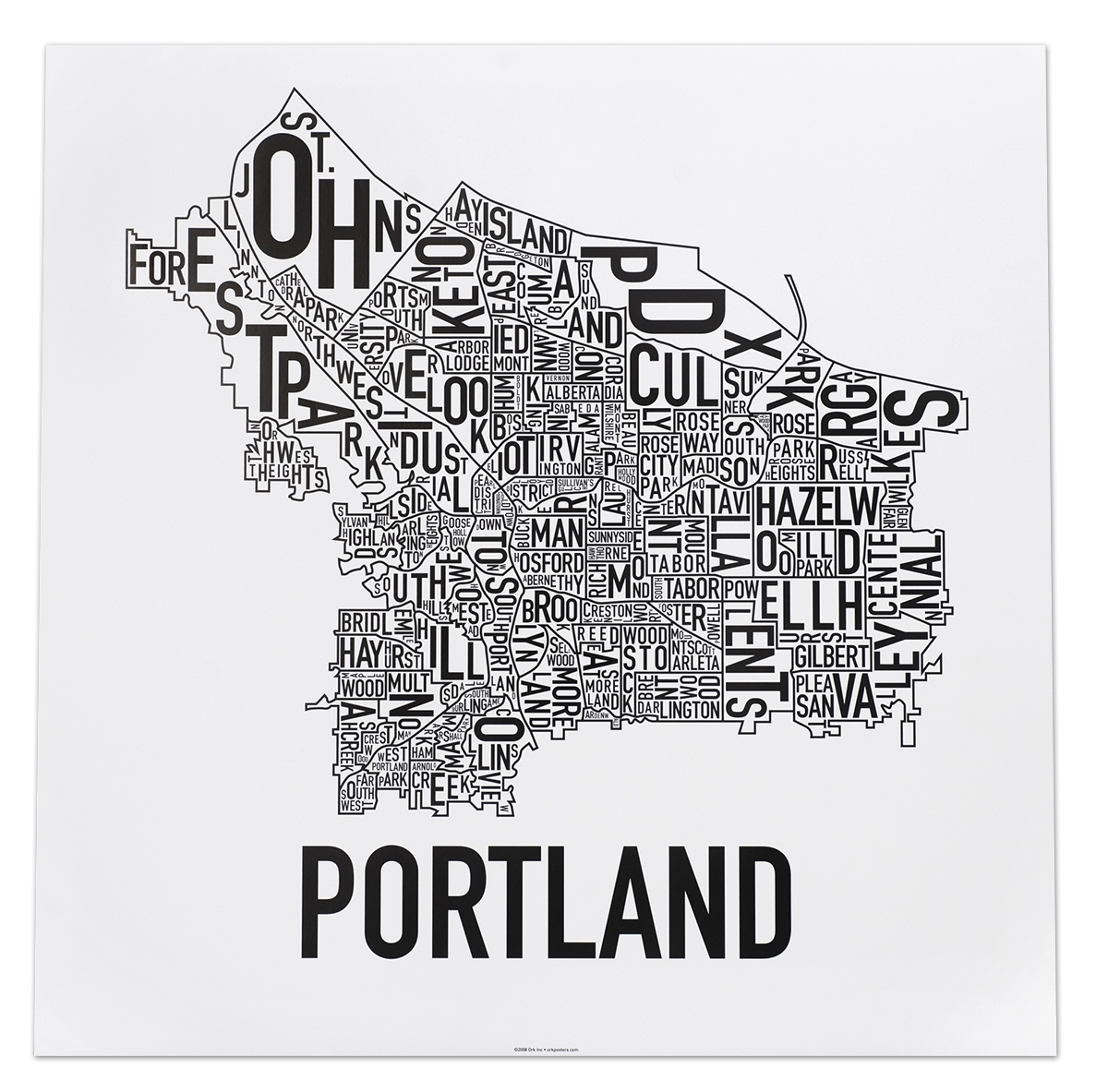 Portland Neighborhoods Map – The Hippest Poster Of Portland In The Regarding Portland Map Wall Art (View 6 of 20)