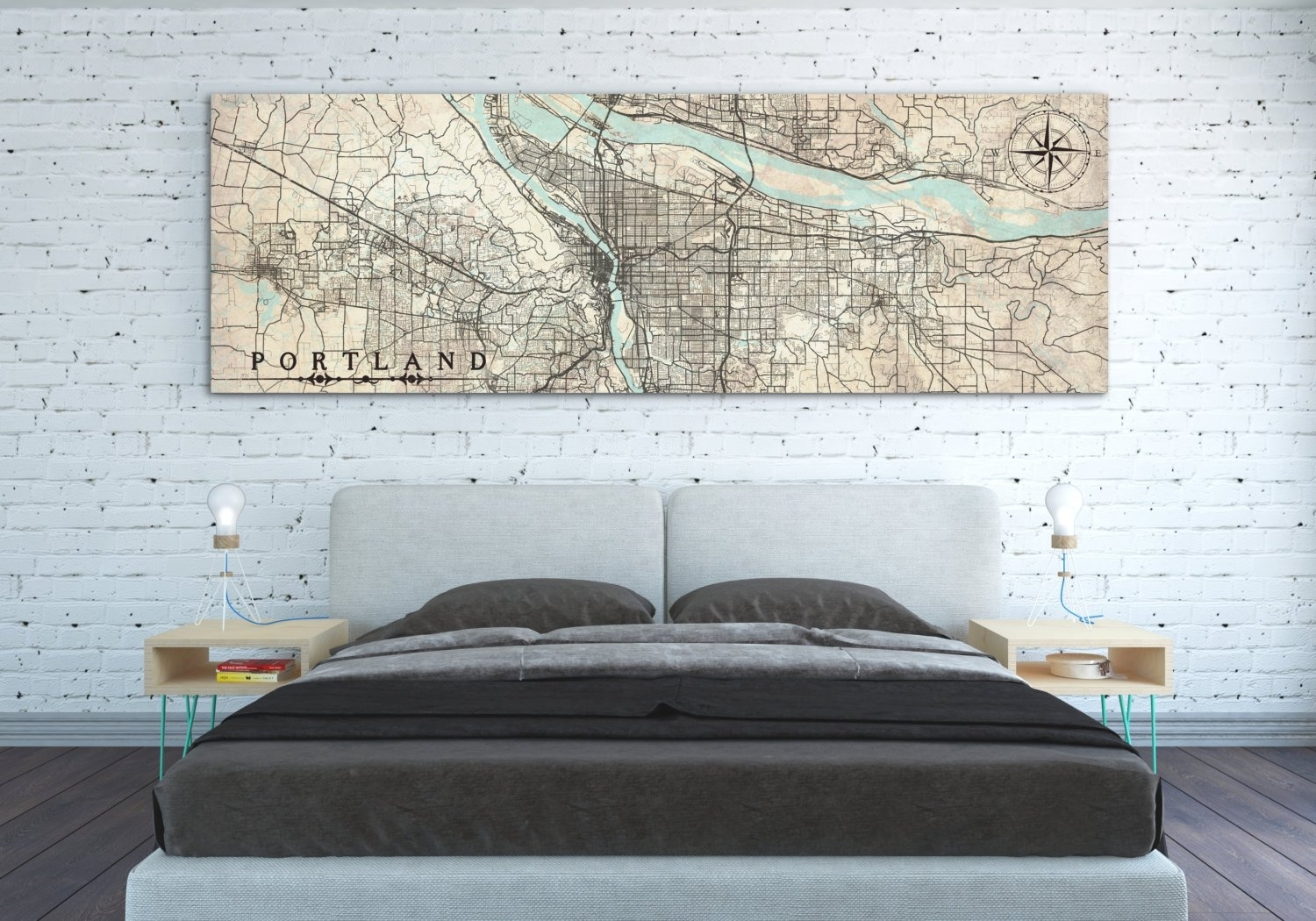 Portland Or Canvas Print Oregon Portland Or Vintage City Map Vintage Pertaining To Portland Map Wall Art (View 16 of 20)