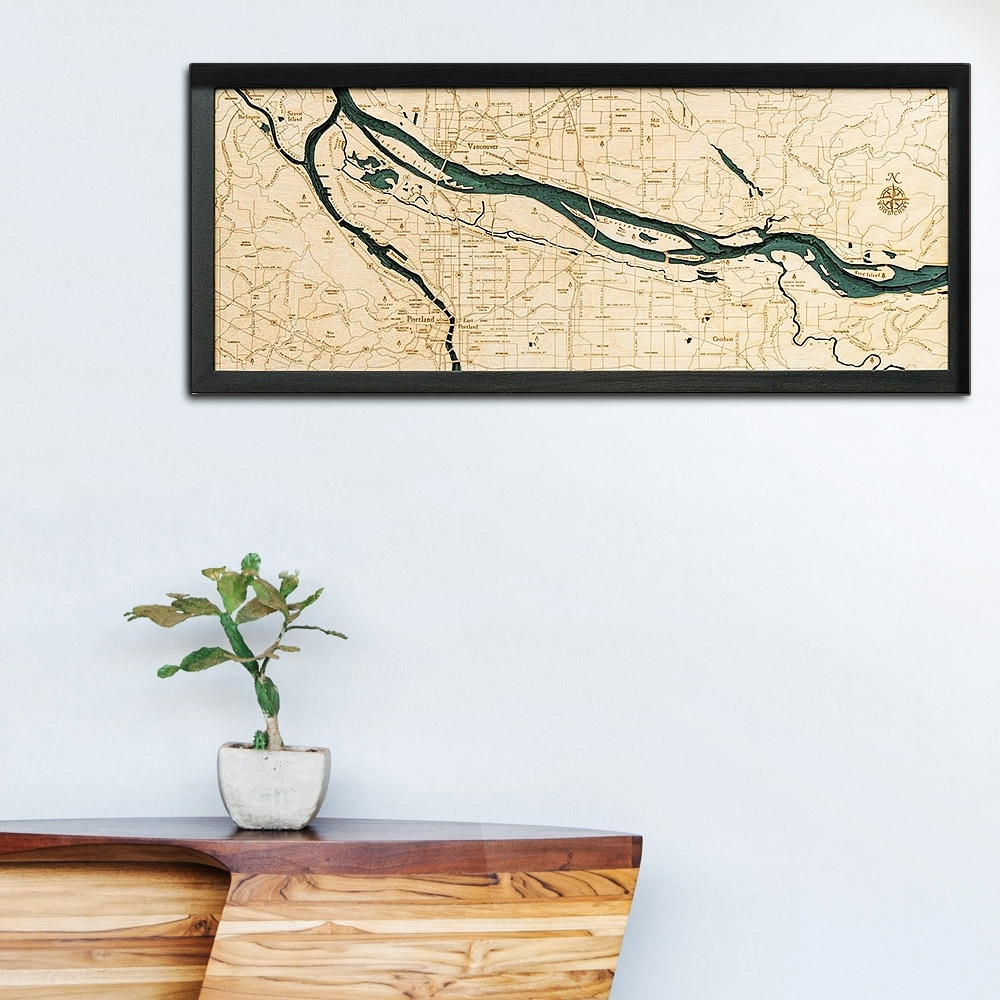 Portland, Or Wood Map | Framed 3d Topographic Wood Chart Pertaining To Portland Map Wall Art (View 20 of 20)