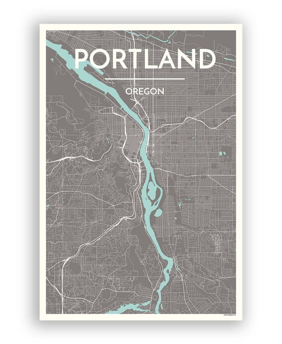 Portland – Oregon City Map | City Maps, Portland Oregon And City Inside Portland Map Wall Art (View 8 of 20)