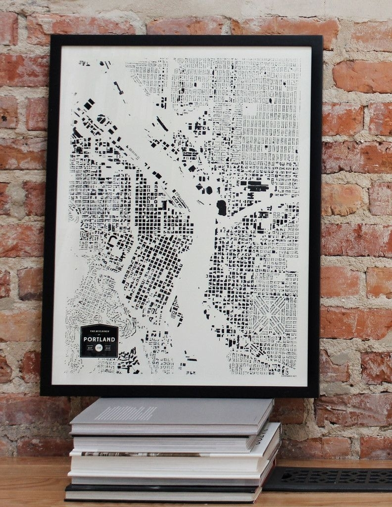 Portland Oregon Pdx Or City Map Print Screenprint Wall Art For For Portland Map Wall Art (View 2 of 20)