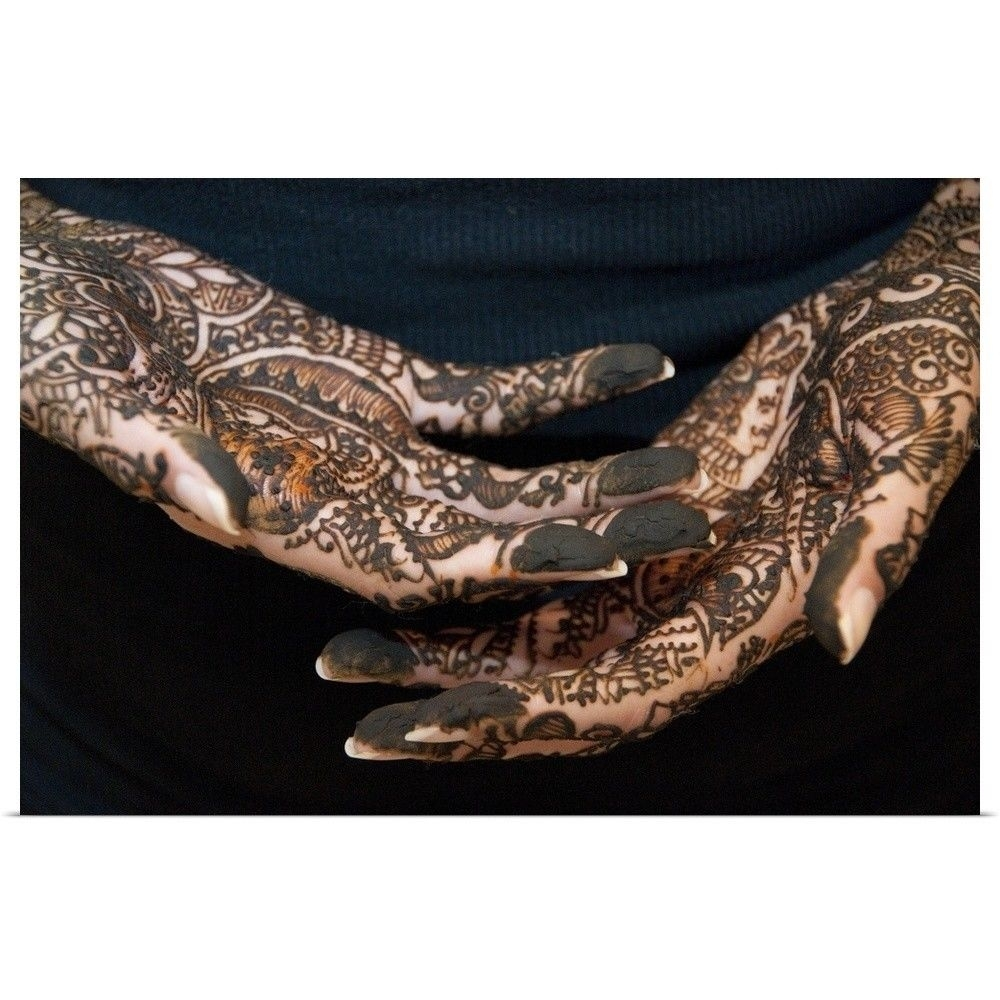 Poster Print Wall Art Entitled Indian Bride's Hands With Mehndi within Henna Wall Art (Image 15 of 20)