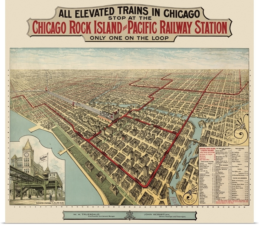 Poster Print Wall Art Entitled Vintage Birds Eye View Map Of Chicago Throughout Chicago Map Wall Art (Photo 10 of 20)