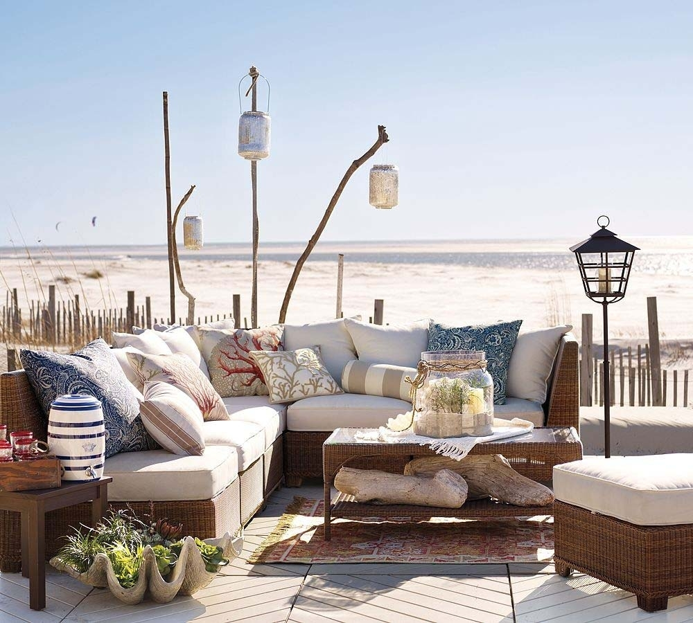 Pottery Barn Beach Furniture For Outdoor Living Room With L Shape Throughout Outdoor Rattan Lanterns (Photo 18 of 20)