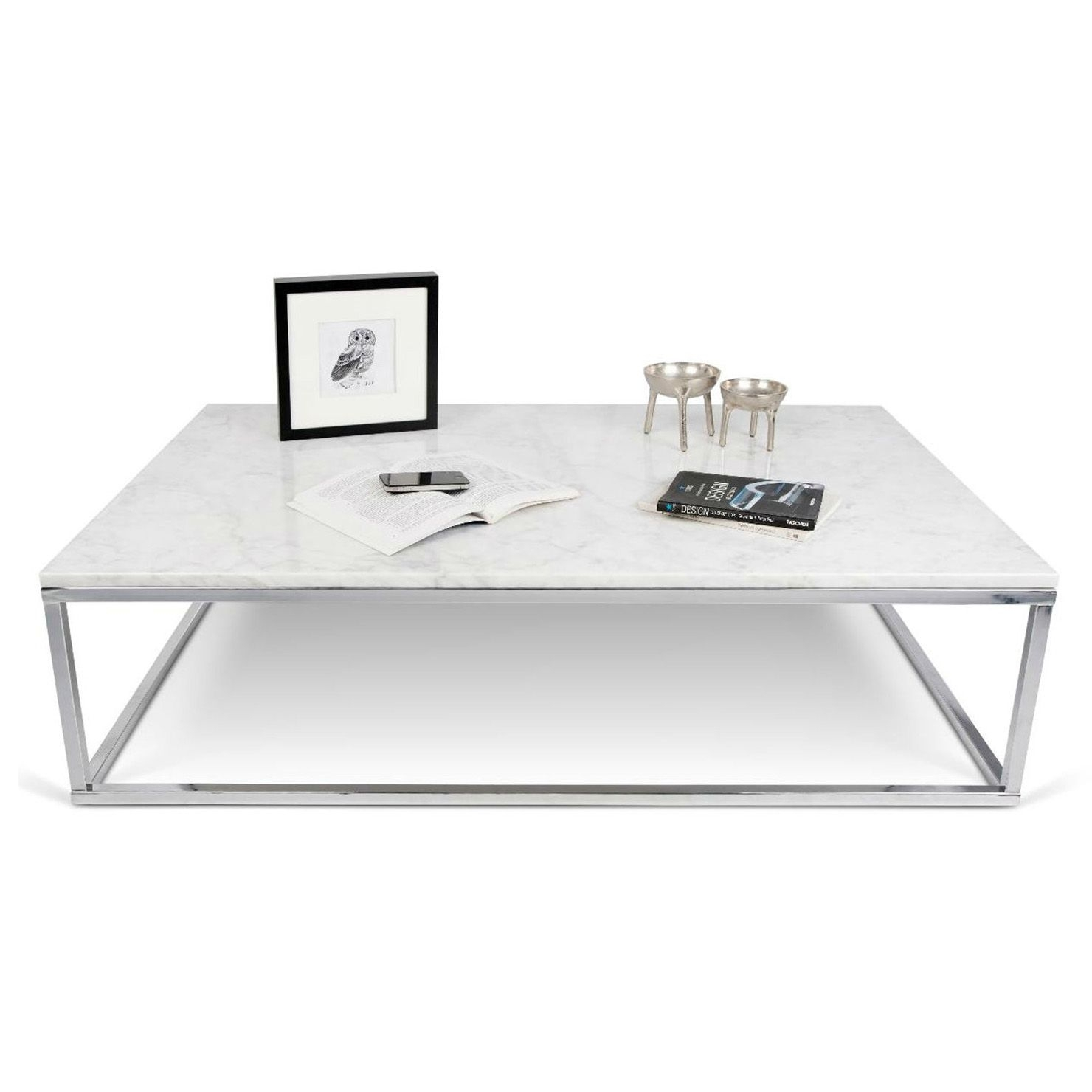 Prairie Marble Rectangular Coffee Table In White | Achica For Element Ivory Rectangular Coffee Tables (View 11 of 30)
