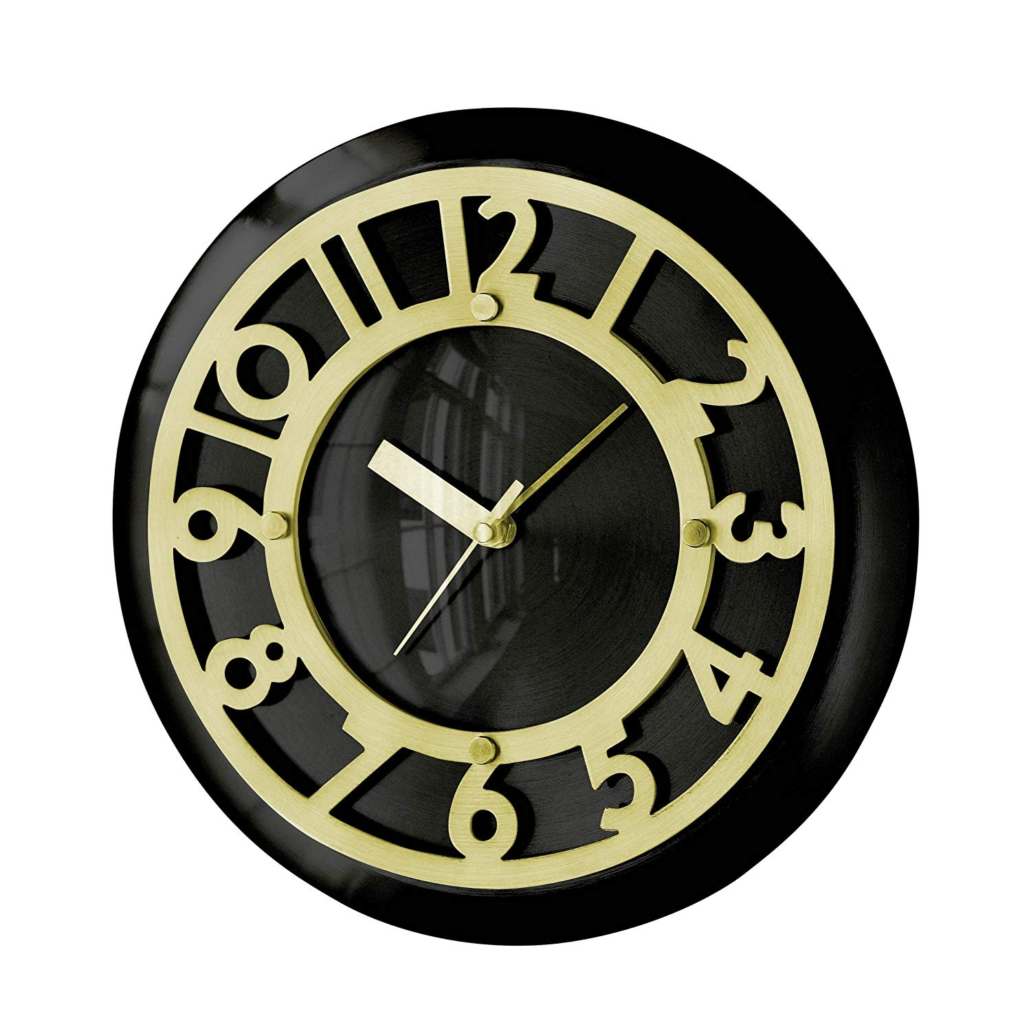 Premier Housewares Art Deco Wall Clock - 29 Cm, Black And Copper with regard to Art Deco Wall Clock (Image 16 of 20)