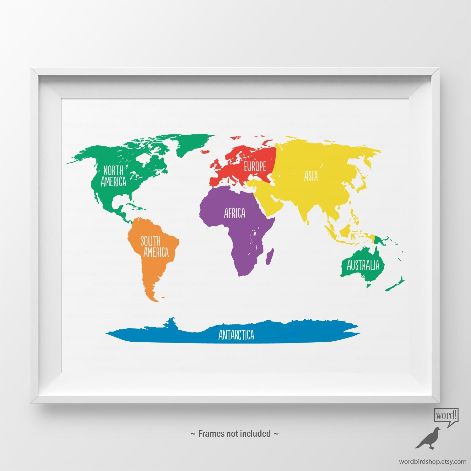 Primary Colors Nursery World Map Kids Wall Art Playroom Wall. Map Of For World Map Wall Art For Kids (Photo 5 of 20)