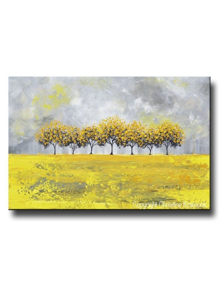 Print Art Abstract Painting Yellow Grey Trees Wall Decor With Yellow And Gray Wall Art (View 19 of 20)