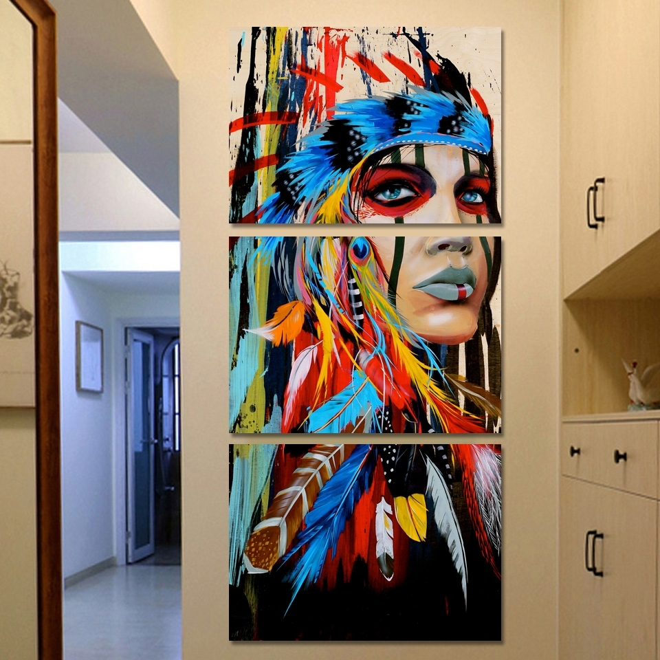 Print Painting On Canvas Native American Girl Feathered Women Modern For Native American Wall Art (View 20 of 20)