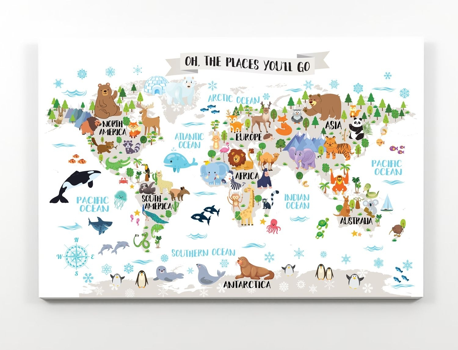 Printable Nursery Animal World Map For Kids Room Decor Animal Wall Intended For World Map Wall Art For Kids (Photo 10 of 20)