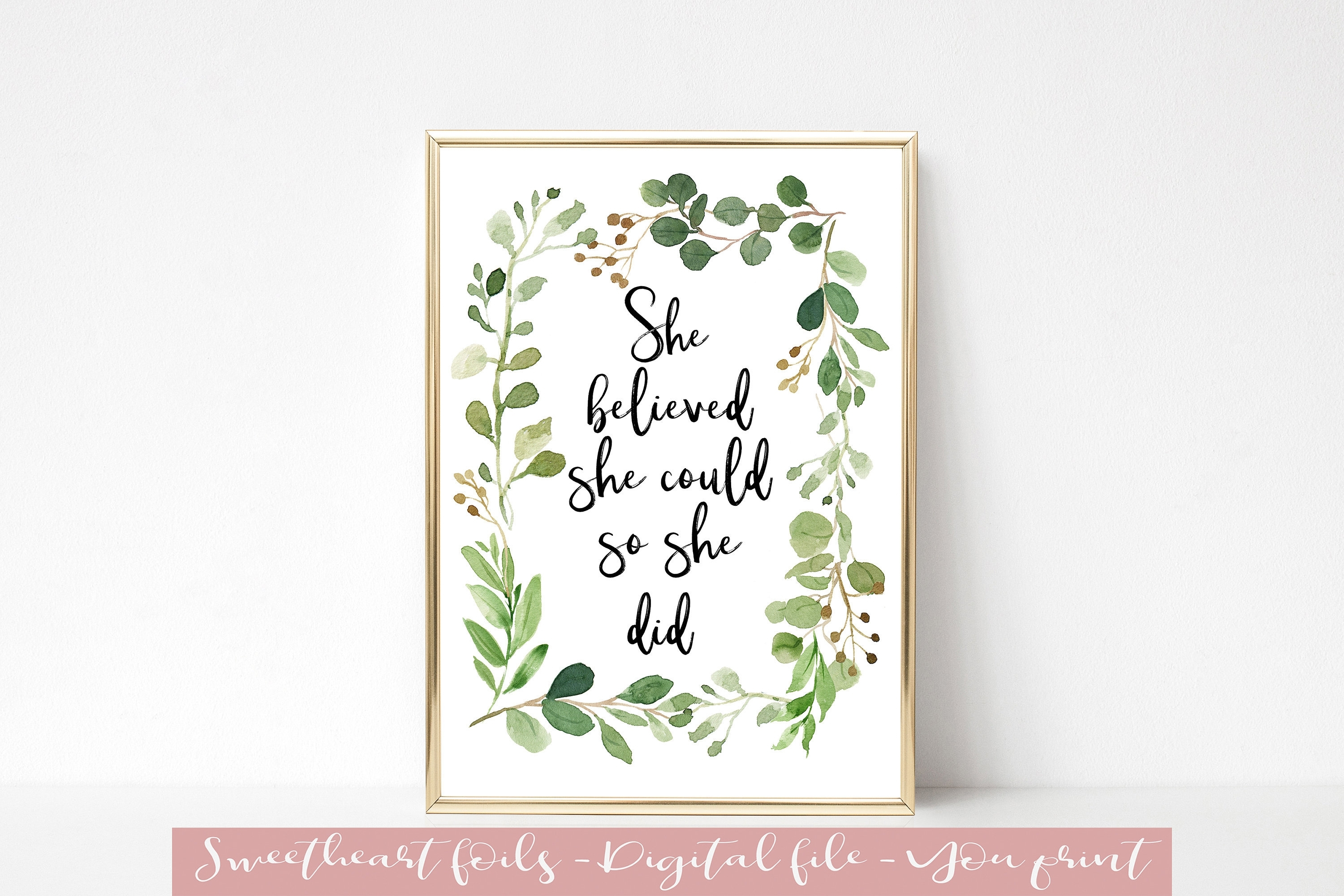 Printable Wall Art She Believed She Could So She Did | Etsy within She Believed She Could So She Did Wall Art (Image 8 of 20)