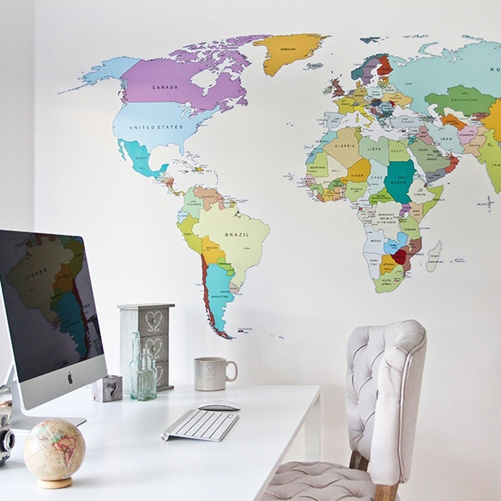 Printed World Map Wall Sticker | Wall Sticker, Walls And Wall Decals Regarding Vinyl Wall Art World Map (View 11 of 20)
