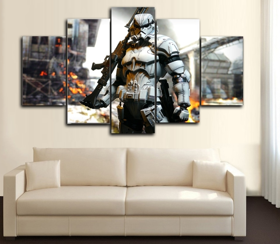 Prints 5 Pieces Wall Art Star Wars ,iron Man, Hunger Games,spider In Star Wars Wall Art (View 8 of 20)
