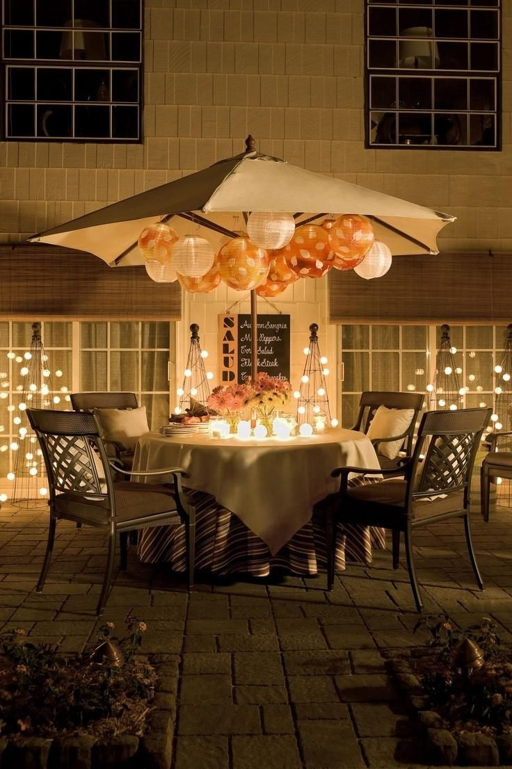 Pro Tip: No Need To Take Your Patio Umbrella Down For An Evening Throughout Outdoor Umbrella Lanterns (Photo 7 of 20)