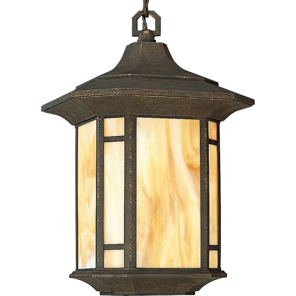 Progress Lighting Arts And Crafts Collection Weathered Bronze with regard to Outdoor Pendant Lanterns (Image 13 of 20)