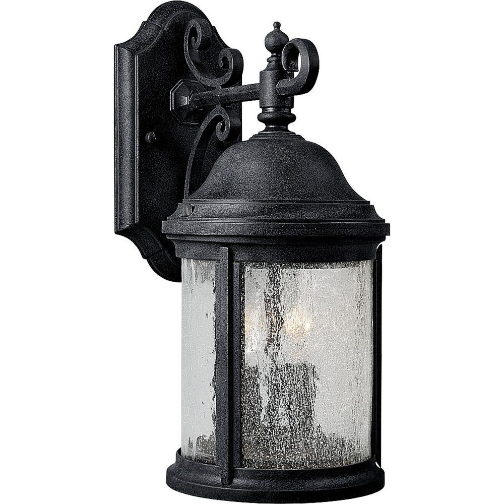 Progress Lighting Ashmore Collection 2-Light Textured Black Outdoor throughout Outdoor Vinyl Lanterns (Image 13 of 20)