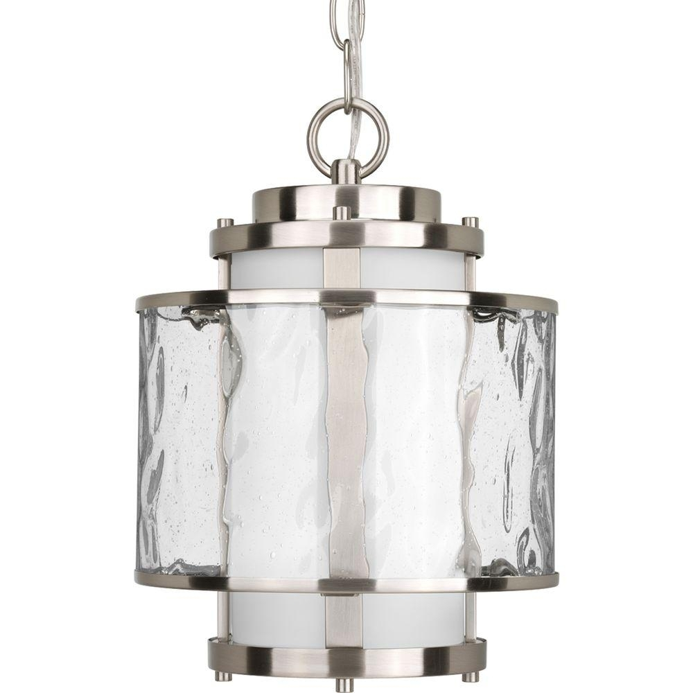 Progress Lighting Bay Court Collection Brushed Nickel Outdoor Throughout Outdoor Pendant Lanterns (Photo 15 of 20)