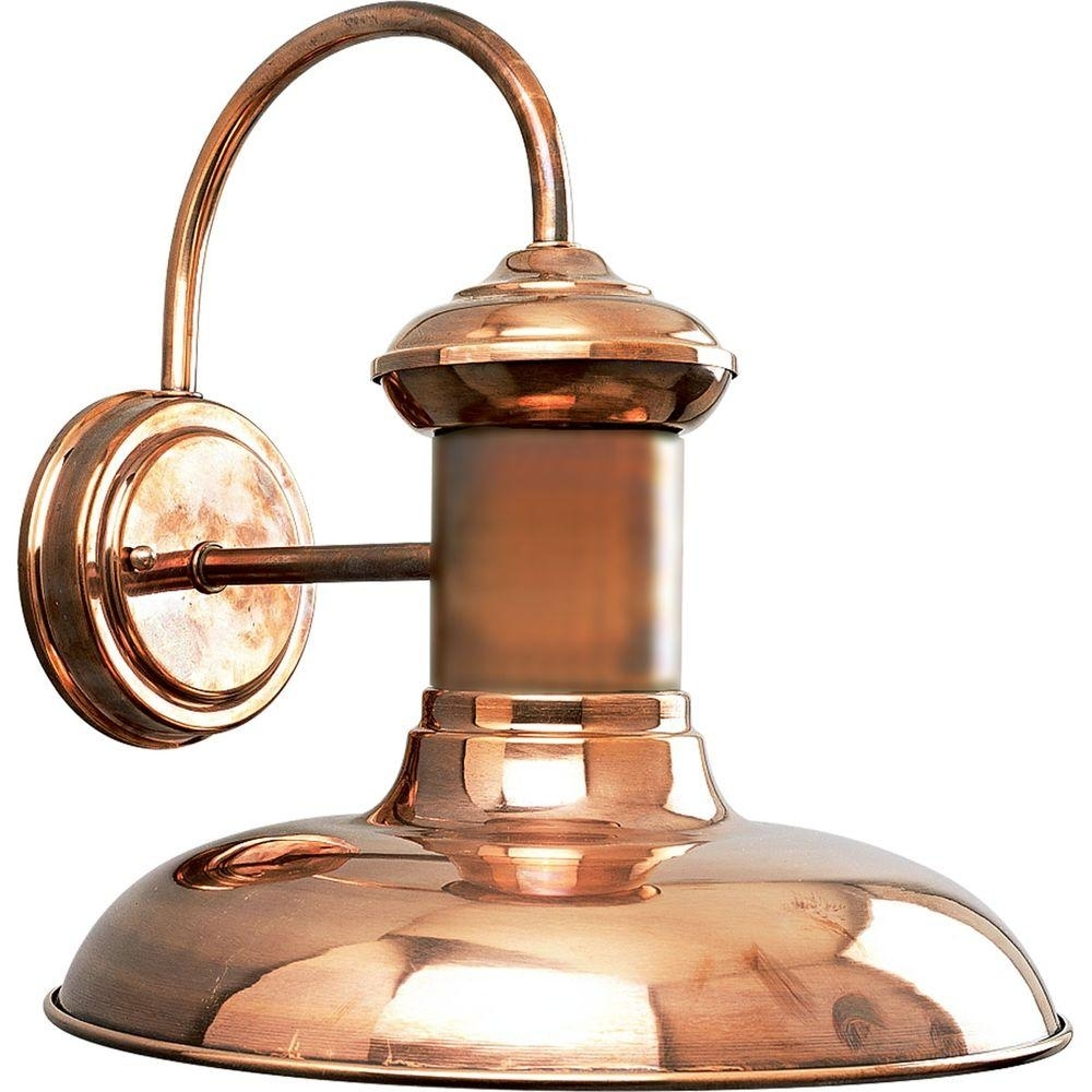 Progress Lighting Brookside Collection 1-Light Solid Copper Led in Copper Outdoor Lanterns (Image 18 of 20)