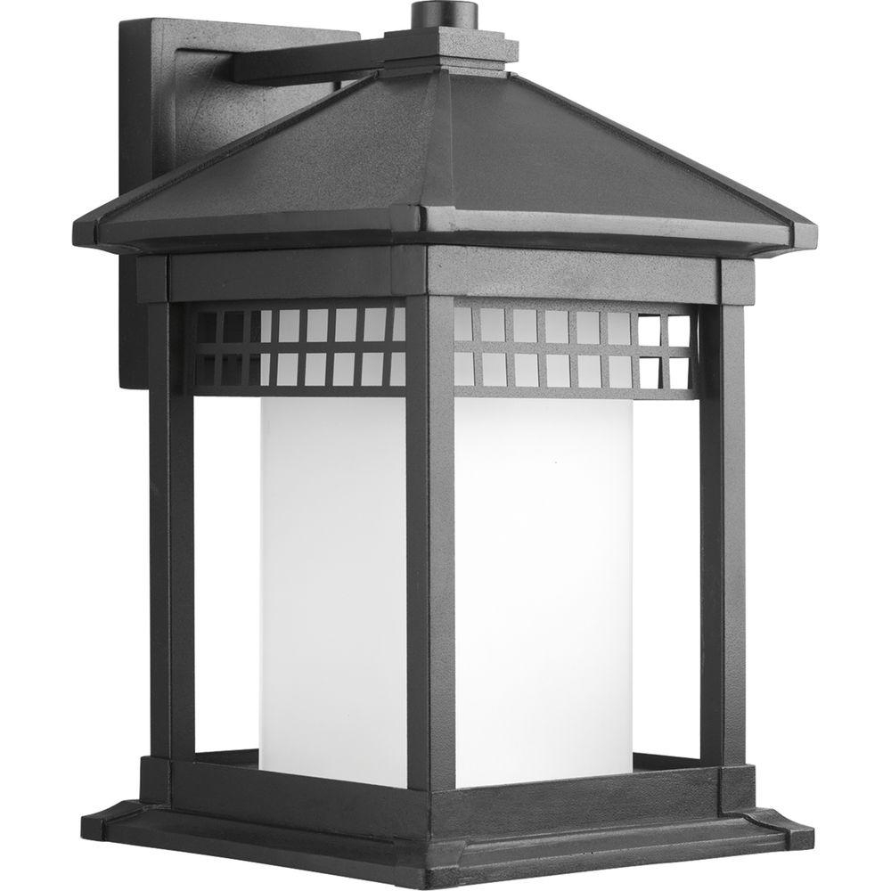 Progress Lighting Merit Collection Black 1 Light Large Outdoor Wall Intended For Large Outdoor Lanterns (Photo 9 of 20)