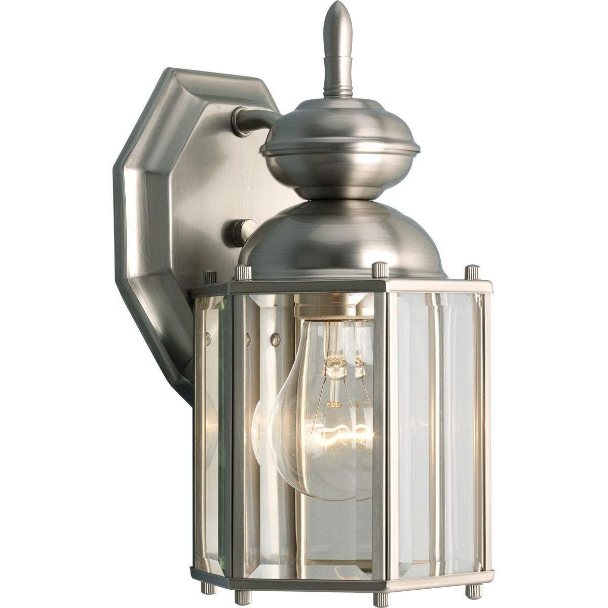 Progress Lighting P5756 10 Wall Lantern With Beveled Glass Panels Pertaining To Nickel Outdoor Lanterns (Photo 8 of 20)