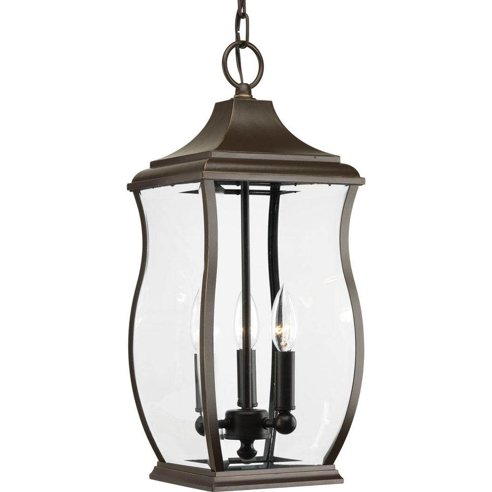 Progress Lighting Township Collection 3 Light Outdoor Oil Rubbed Within Outdoor Oil Lanterns (Photo 15 of 20)
