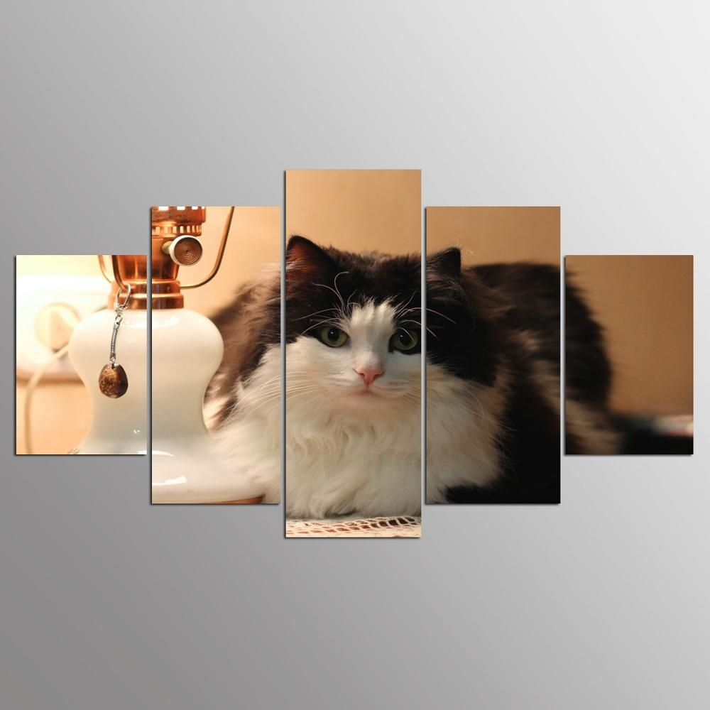 Promotion 5 Pieces Canvas Painting Cat Canvas Wall Art Print Inside Cat Canvas Wall Art (Photo 13 of 20)