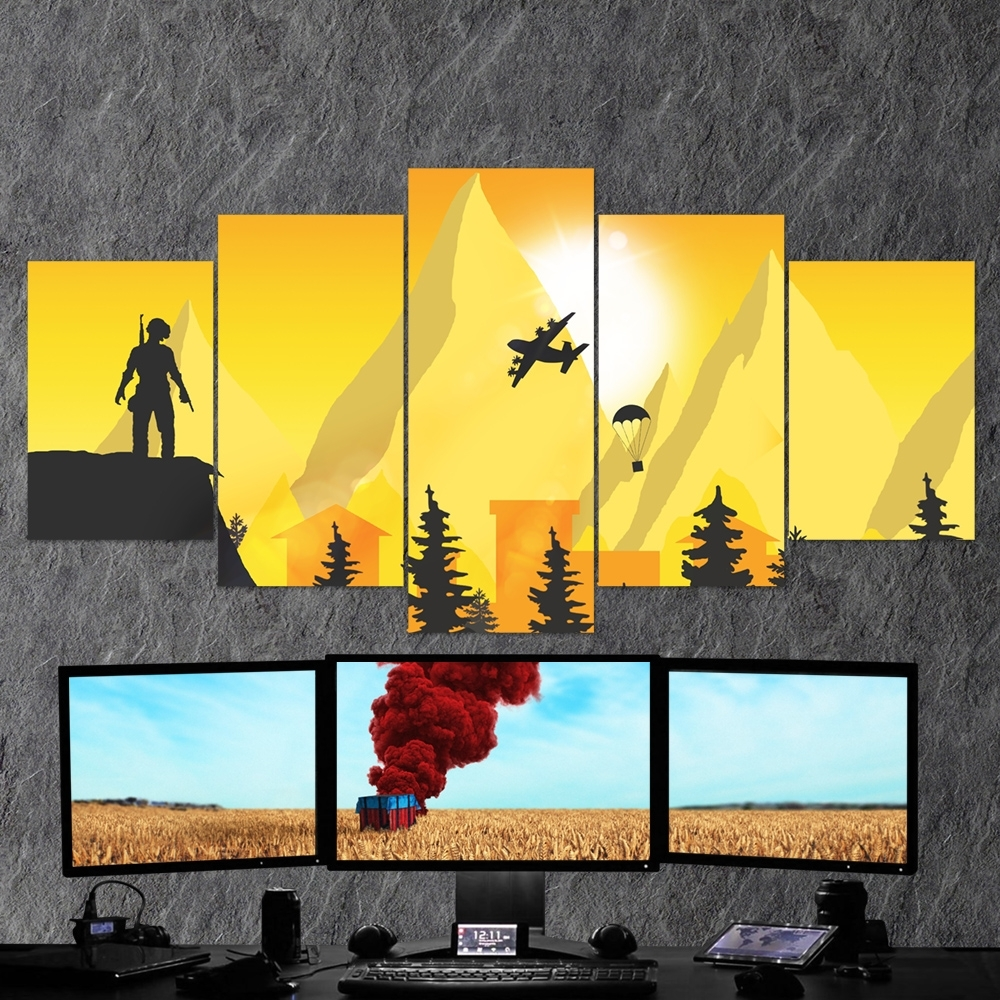 Pubg Playerunknown's Battlegrounds 26 – 5 Piece Canvas Wall Art regarding 5 Piece Canvas Wall Art (Image 15 of 20)