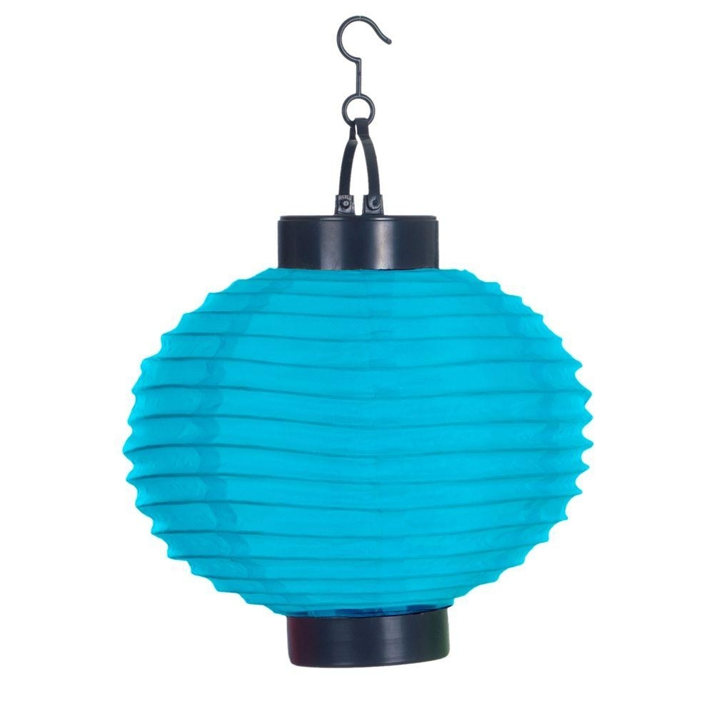 Pure Garden 4 Light Blue Outdoor Led Solar Chinese Lantern 50 19 B Intended For Blue Outdoor Lanterns (Photo 3 of 20)