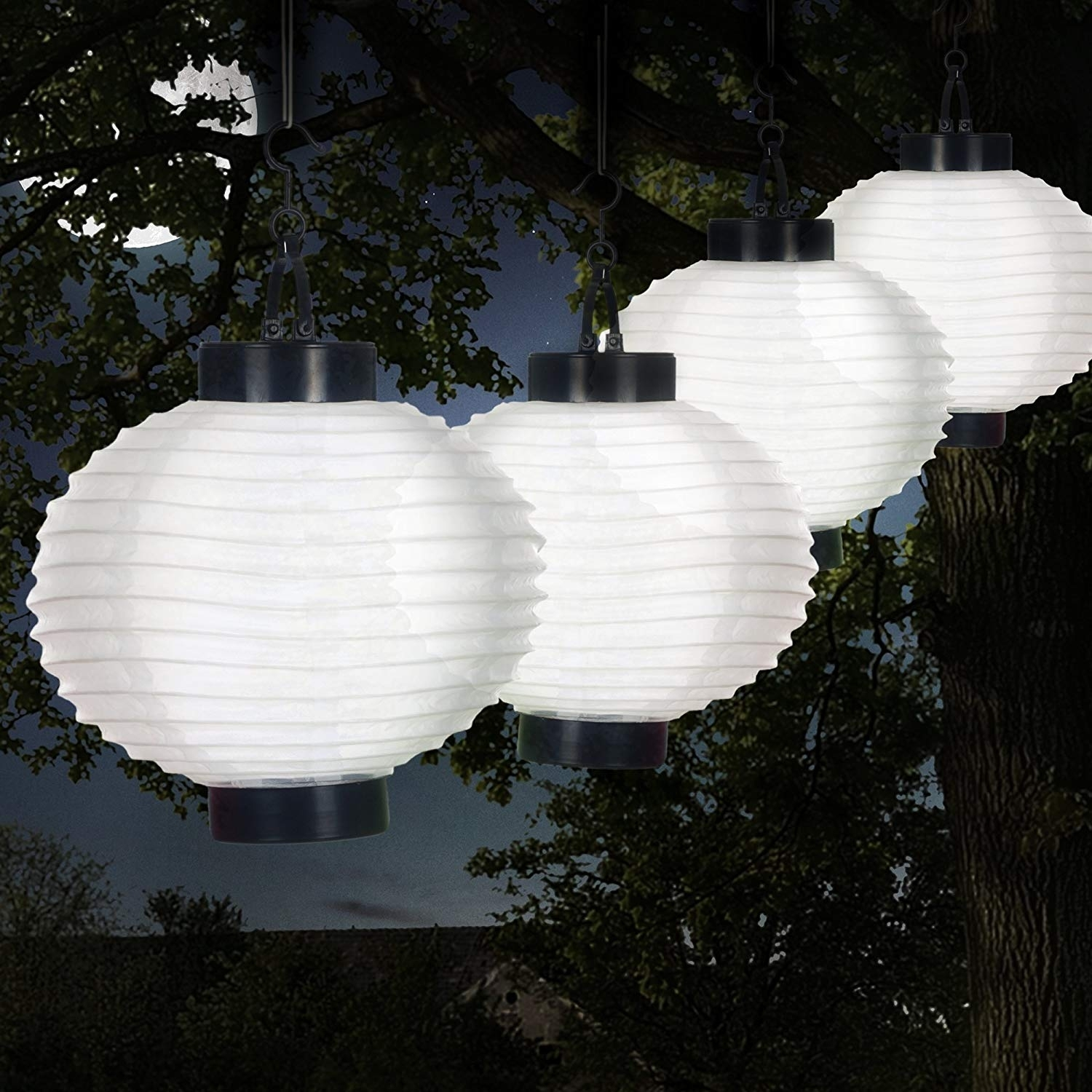 Pure Garden 50 19 W Outdoor Solar Chinese Led Lanterns, White With Regard To Outdoor Chinese Lanterns For Patio (Photo 6 of 20)
