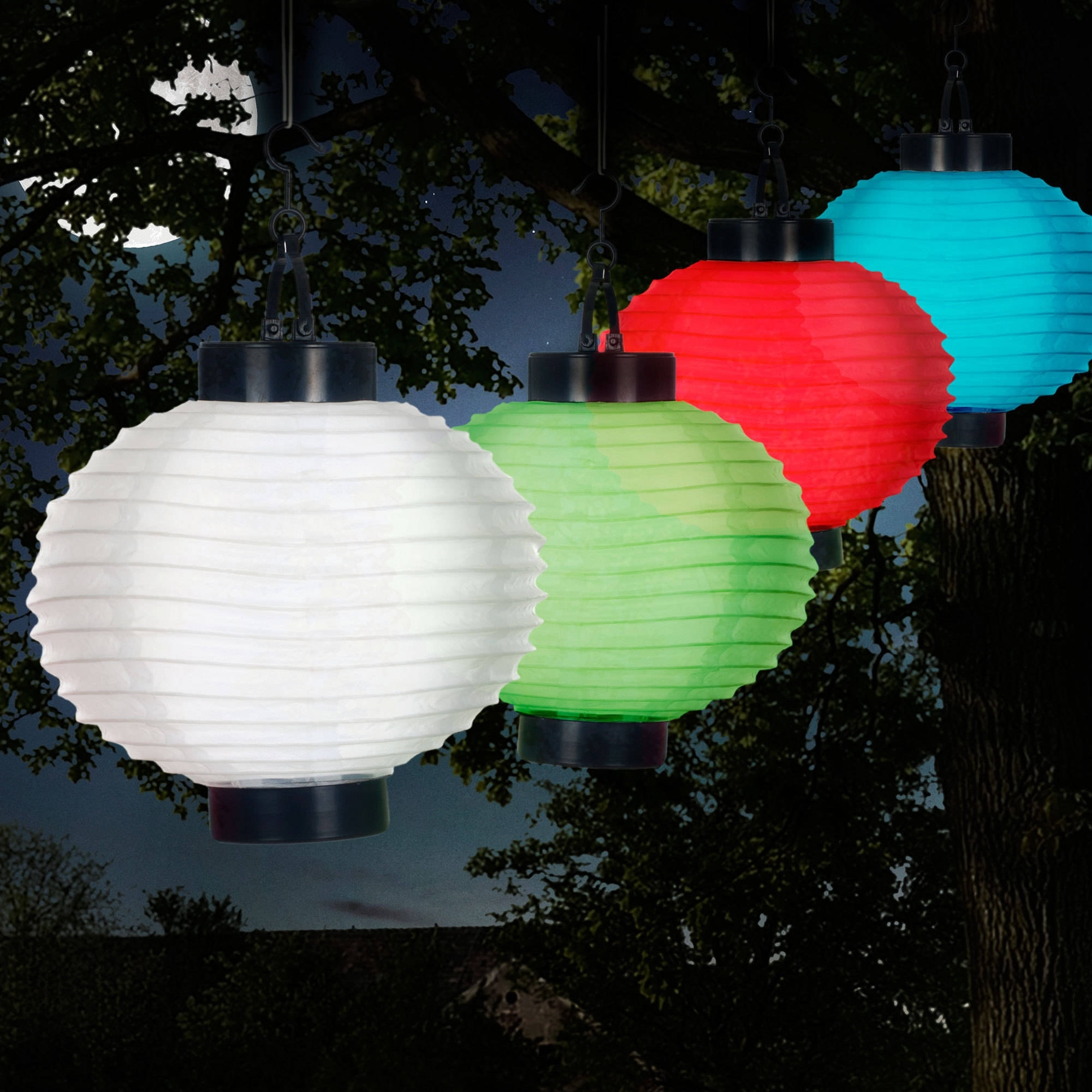 Pure Garden Outdoor Solar Chinese Lanterns, Led, Set Of 4 - Walmart with Outdoor Nylon Lanterns (Image 16 of 20)