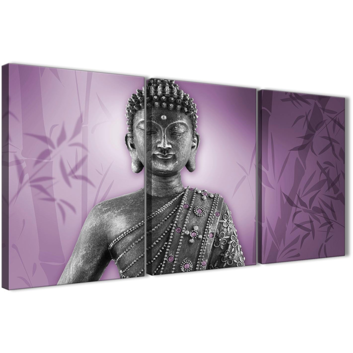 Purple And Grey Silver Canvas Art Prints Of Buddha – Multi Set Of 3 Within Wall Art Prints (View 16 of 20)