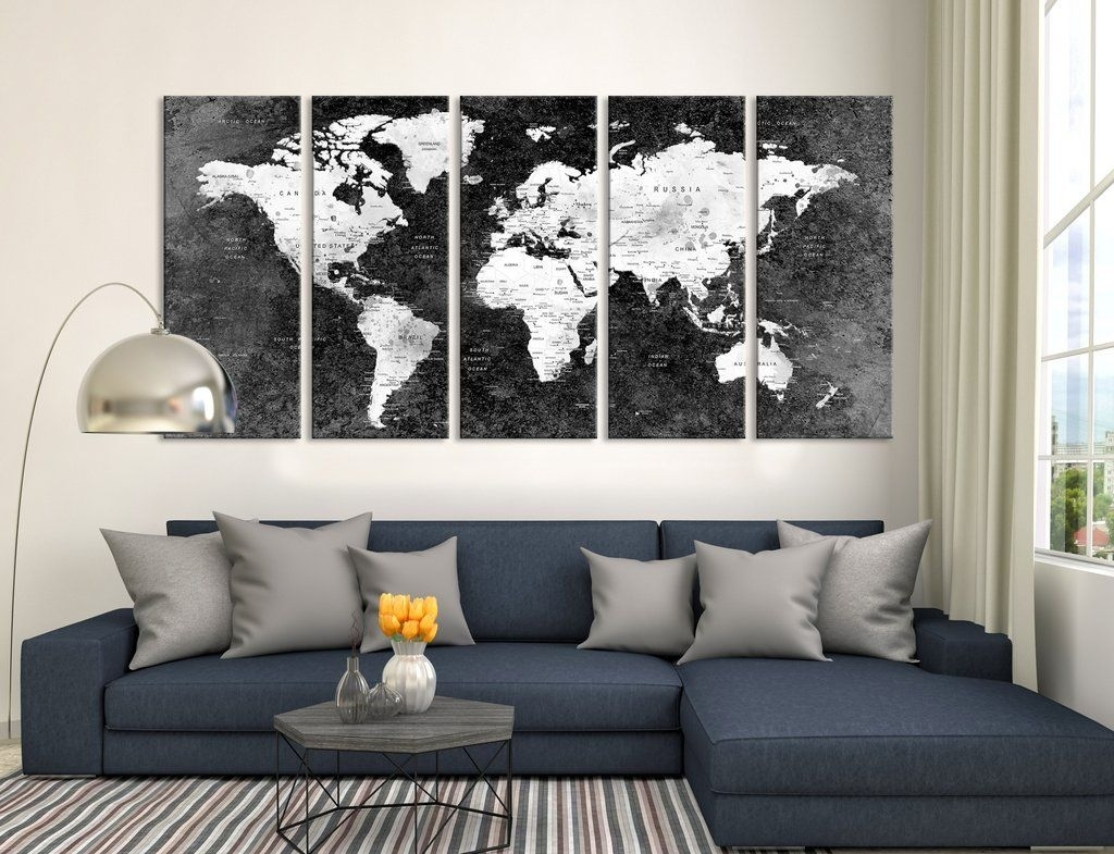 Push Pin Black World Map, Large Wall Art, Push Pin World Map, World with Extra Large Wall Art (Image 17 of 20)