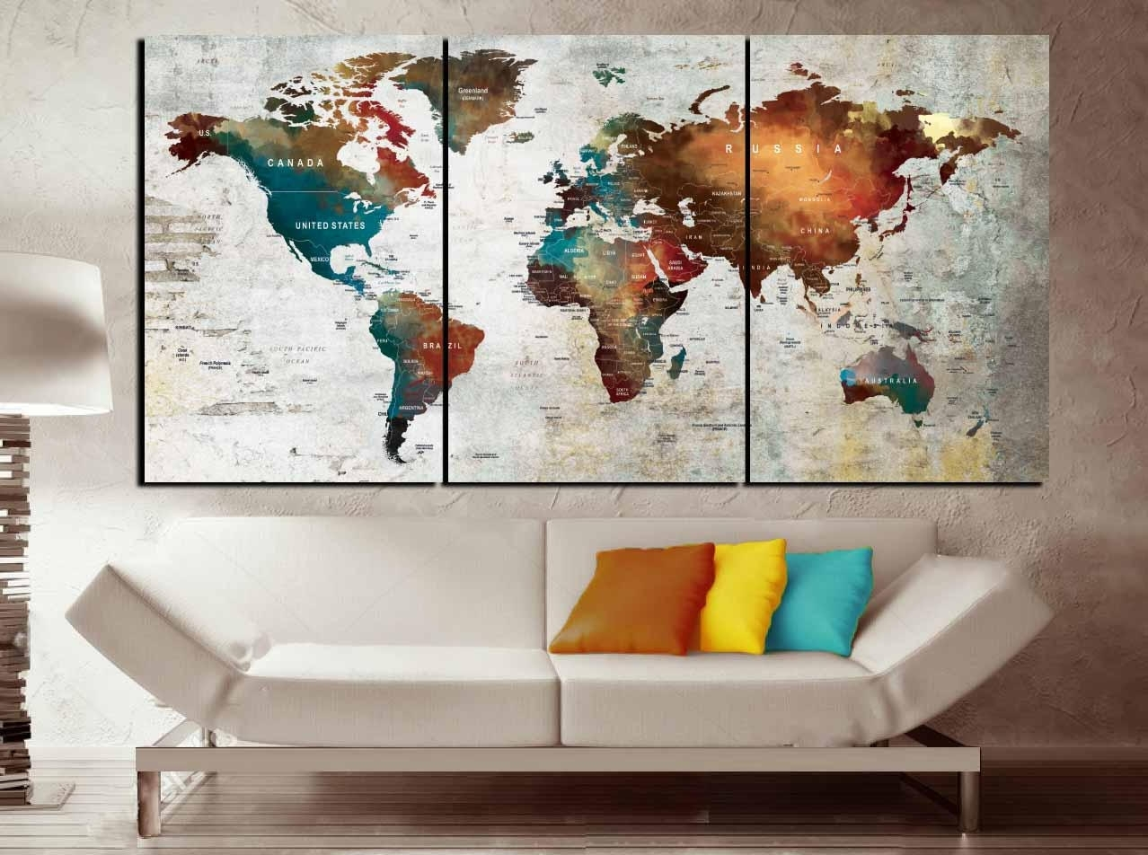 Push Pin Map Canvas Wall Art,3 Piece Canvas World Map,world Map Wall within Us Map Wall Art (Image 10 of 20)