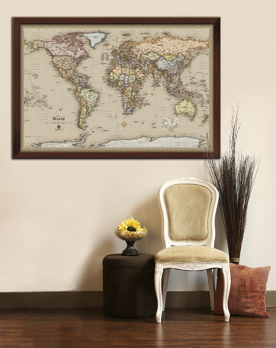 Push Pin Travel Map World Wall Art With Framed Maps Soloway. Map Of Throughout World Map Wall Art Framed (Photo 14 of 20)