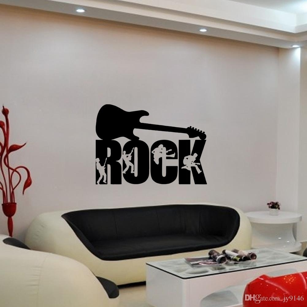 Pvc Rock Music Art Mural Decoration Wallpaper Removable Guitar with Music Wall Art (Image 16 of 20)