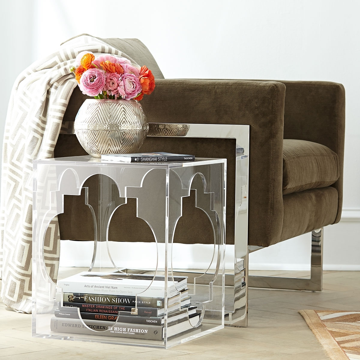Quatrefoil Acrylic Side Table | Wisteria Pertaining To Stately Acrylic Coffee Tables (View 22 of 30)