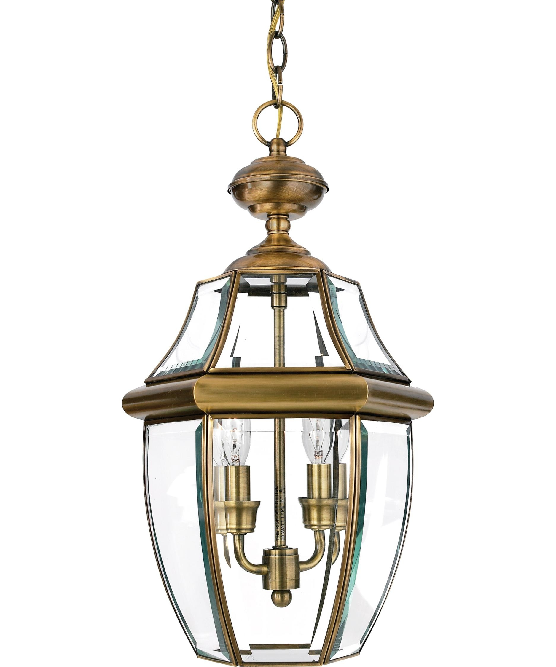 Quoizel Ny1178 Newbury 10 Inch Wide 2 Light Outdoor Hanging Lantern with Outdoor Glass Lanterns (Image 15 of 20)